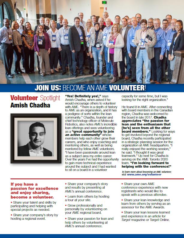 AME Volunteer Profile Fall 2019